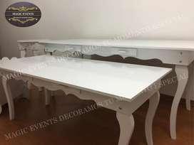Alquiler de mesas Vintage de ESTRENO todo acabado en gloos A1