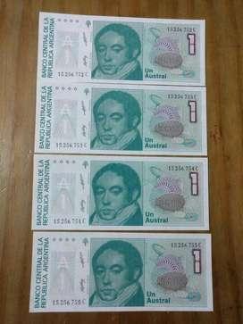 4 Billetes sin Circular de 1 Austral Correlativos