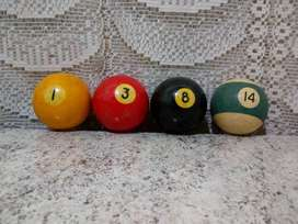 PRECIO X 4 bolas de  POOL  1, 3, 8 y 14