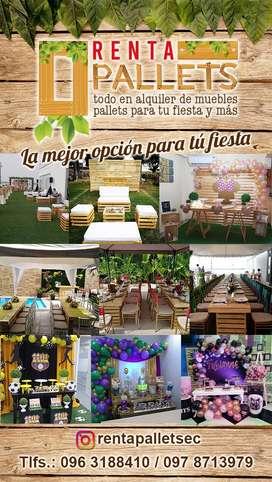 Organización de Eventos, Decoración y Ambientación, Catering, Alquiler de Muebles en Pallets, Meseros, Barman, Eventos s