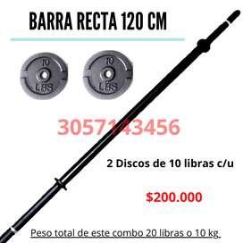 Barra Recta 120 CM Negra Pesas