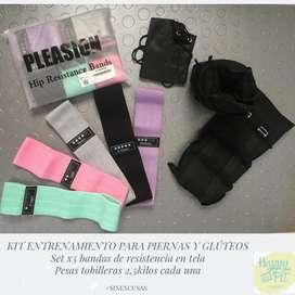 kit entrenamiento bandas elastica en tela y pesas tobilleras