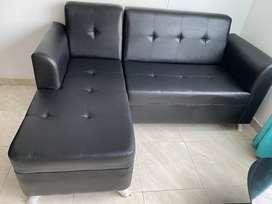 Sofa en L Eurocuero Negro