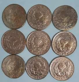 Vendo lote de 9 monedas de 5 centavos antiguas de Colombia