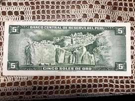 Billete 5 Solesde Oro 1969 Nuevos