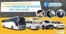 Transporte de personal buses, van, minivan, sprinter, custer