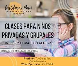 CLASES Y REFUERZOS PARA NIÑOS INGLES Y DEMÁS CURSOS