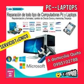 Servicio técnico de computadoras laptos formateos discos duros a domicilio Quito
