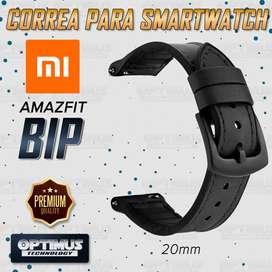 Pulso Manilla Correa De Cuero 20mm Smartwatch Xiaomi Amazfit Bip