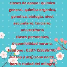 Clases de genetica, quimica general, quimica organica e inorganica,biologia.