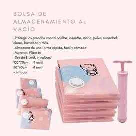 Bolsas de almacenamiento al vacío - rosado. Cubra y proteja su ropa y peluches