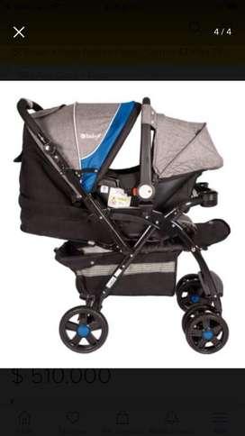 Coche Ebaby reversible con silla para carro