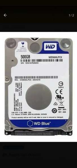 Disco Notebook 500 gigas marca WesternDigital nuevo sin uso