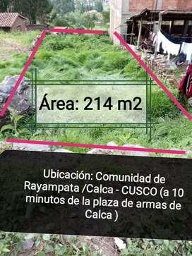 Venta de terreno 214 m2 en la C. De rayampata en el Valle Sagrado de los Incas (Cusco-Calca)