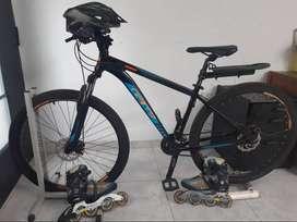 Bicicleta GW, Patines Landway, rodillos bici estática, casco