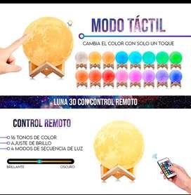 Lámpara luna 3D Recargable 16 colores con control remoto camba de color al toque
