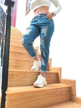 Pantalon jean boyfriend para dama