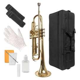 Trompeta dorada con estuche accesorios NUEVAS