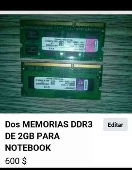 Dos Memorias ddr3 de 2gb Kingston para Notebook o netbook