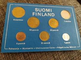 Monedas antiguas Finlandésas 1975 sin circular