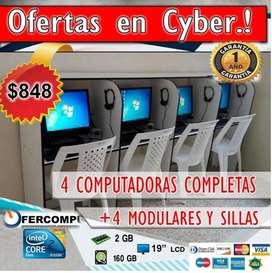 CYBER ECONÓMICO DE 4 COMPUTADORAS COMPLETAS POR 838 GARANTÍA DE 1 AÑO