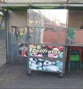 Carro para vender frutas Estructura: Ángulos de hierro, y lamina de acero inoxidable
