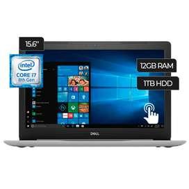 "Laptop Dell inspiron, pantalla táctil de 15,6"". 12 Gb Ram, core i7 8gen"