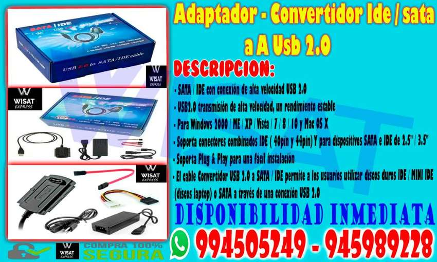 Adaptador - Convertidor Ide/sata A Usb 2.0 0