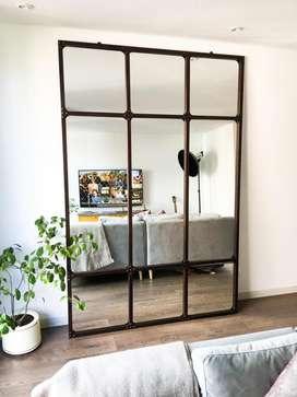 Espejo grande de pared estilo vintage industrial en hierro metal