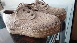 Zapatos con plataforma, una sola postura!CUERO numero 38