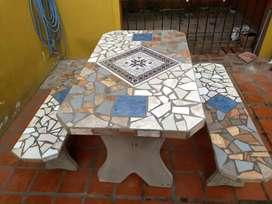Mesas de Jardín de Cemento Revestida