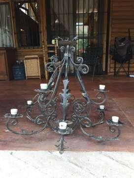 Lampara Araña de hierro 9 lamparas EXELENTE ESTADO