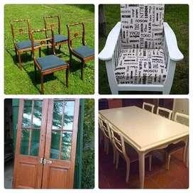 Restauración de Muebles de todas las épocas.  Tambien puertas, ventanas, marcos, cuadros, maderas en gral.