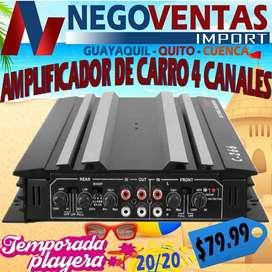 AMPLIFICADOR DE SONIDO CON 4 CANALES PARA CARROS