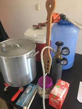 Equipo cocción cerveza artesanal para principiantes + accesorios embarrilado.