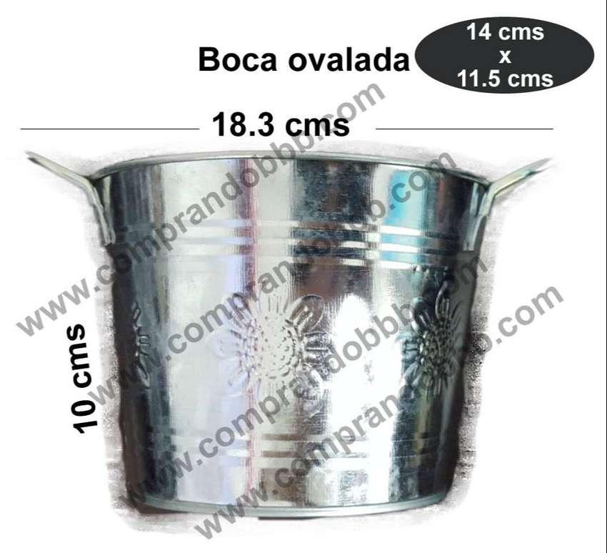 Maceta Matera Metal Galvanizado Ovalado Relieve Regalo Mujer 0
