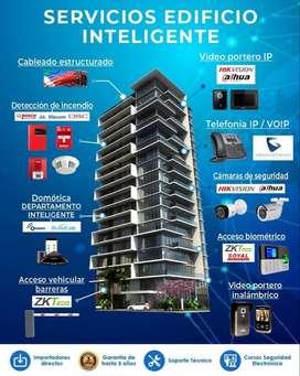 Edificio inteligente. Cámaras de seguridad. Sistema contra incendio. Alarmas de seguridad. Domotica. Venta e instalacion