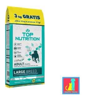Top nutrition adulto large x15 kgrs más 3 kilos GRATIS