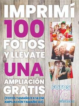 Impresión De 100 Fotos 9x14cm + 1 Ampliación De Regalo!!!