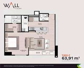 WALL APARTAMENTOS en El Poblado: Apartamento de 64m2 vista al norte a precio de sala de ventas