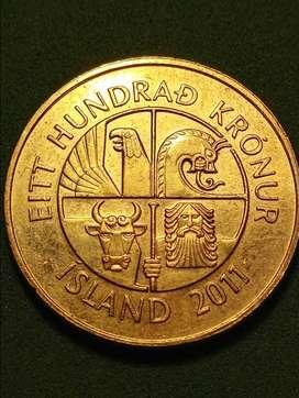 #Moneda Islandia 100 Kro'nur 2011