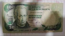 Billete de 200 pesos oro