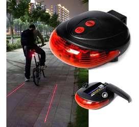 Luz Trasera 5 Led + 2 Rayos Láser Bicicleta Alto Brillo