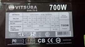 Fuente de PC Vitsuba 700 Watts Reales, Funciona Perfecto!
