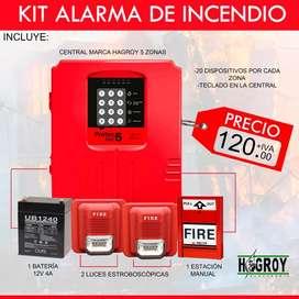 alarma de incendio convencional/alarma de incendio protec fire 5 zonas/detector de humo/estacion manual-Quito-Guayaquil