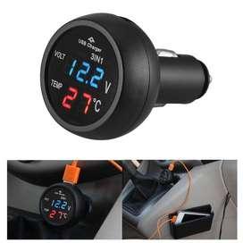 Termometro Voltimetro Indicardor Bateria 12v