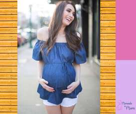 Blusa maternal tipo jean