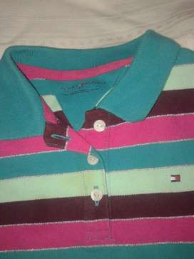 Remera Chomba Tommy Hilfiguer Raya Plata+color Cuello
