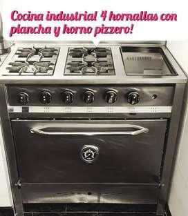 Cocina industrial 4 hornallas con plancha se retira en Ciudadela