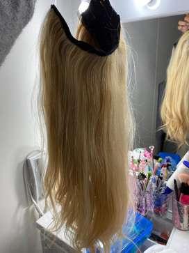 Extensiones de cabello tecnica de hilo